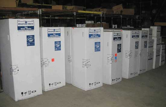 Bluflame Bradford white water heaters stock